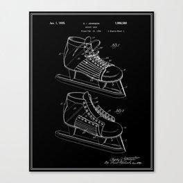 Hockey Skate Patent - Black Canvas Print
