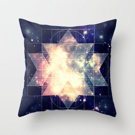 Galaxy Sacred Geometry: Golden Rhombic Hexecontahedron Throw Pillow