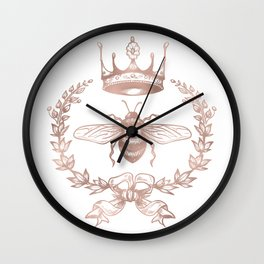 Queen Bee in Rose Gold Pink Wall Clock