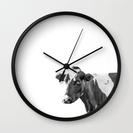 Cow Photography Animal Art | Minimalism black and white | black-and-white | Peek-a-boo Wall Clock