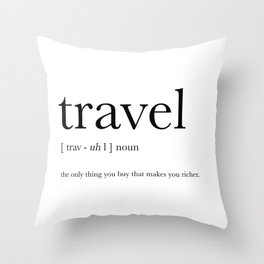 Travel Definition Throw Pillow