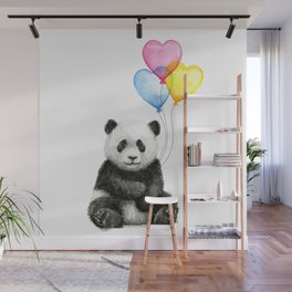 Panda Baby with Heart-Shaped Balloons Whimsical Animals Nursery Decor Wall Mural