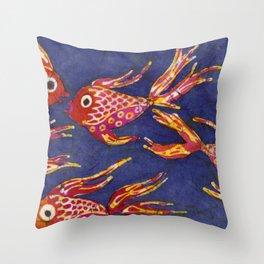 Goldfish batik Throw Pillow