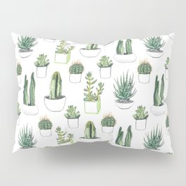 watercolour cacti and succulent Pillow Sham