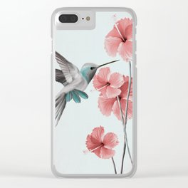 Hummingbird with Hibiscus Clear iPhone Case