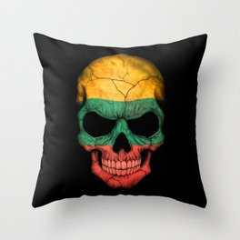 Dark Skull with Flag of Lithuania Throw Pillow