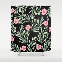 Delicate Hibiscus Black Shower Curtain