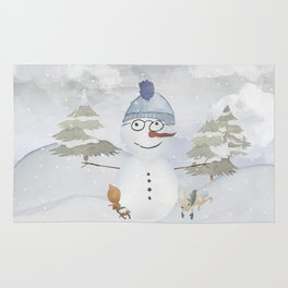 Winter Wonderland - Funny Snowman and friends - Watercolor illustration Rug