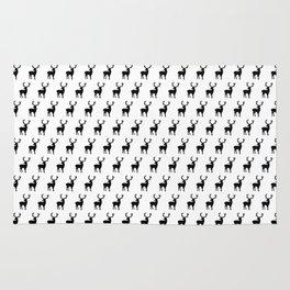 Black and white scandinavian deers Rug
