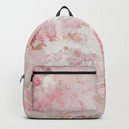 Vintage Floral Rose Roses painterly pattern in pink Backpack