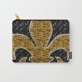 Black and Gold Fleur De Lis Carry-All Pouch