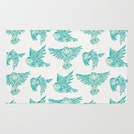 Owls in Flight – Turquoise Palette Rug