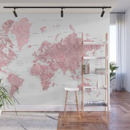 Light pink, muted pink and dusty pink watercolor world map with cities Wall Mural