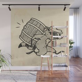 THE  WHISKEY SMUGGLER - vintage cartoon 80's Wall Mural