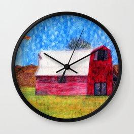 Watercolor Red Barn Wall Clock