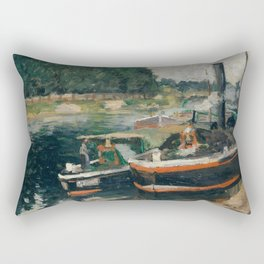 Camille Pissarro - Barges at Pontoise (1876) Rectangular Pillow