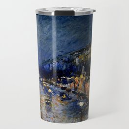 The Boulevard Montmartre At Night : Camille Pissarro Travel Mug