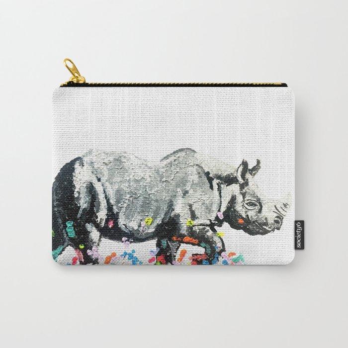 Rhino on a Colour Run Carry-All Pouch