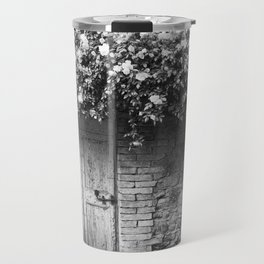 Old Italian wall overgrown with roses Travel Mug