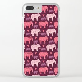 Purple and Pink Kids Baby Elephants Silhouette Clear iPhone Case