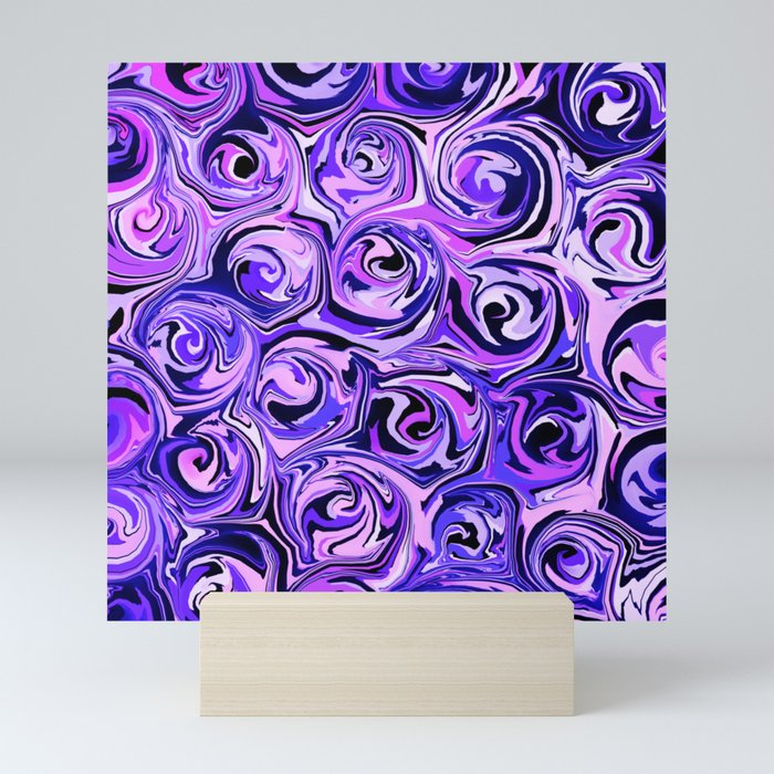Violet and Lilac Paint Swirls Mini Art Print