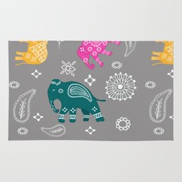 Mehndi elephants Rug