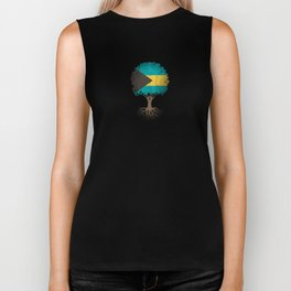 Vintage Tree of Life with Flag of Bahamas Biker Tank
