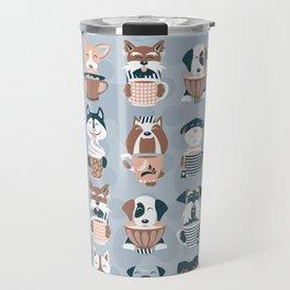 Doggie Coffee and Tea Time I // blue grey Travel Mug
