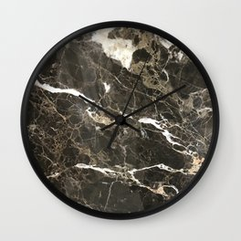 Dark Brown Marble With White Veins Wall Clock