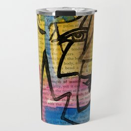 """Funky Face Abstract, """"I See 32"""" by Kathy morton Stanion Travel Mug"""