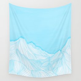 Lines in the mountains - Aqua Wall Tapestry