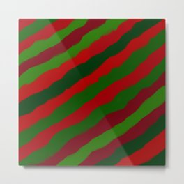 Red and Green Christmas Wrapping Paper Metal Print