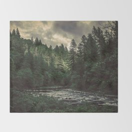 Pacific Northwest River - Nature Photography Throw Blanket