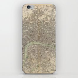 Vintage Map of London England (1843) iPhone Skin