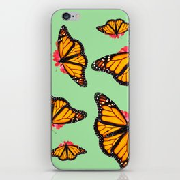 Orange Monarch Butterfly Pattern iPhone Skin