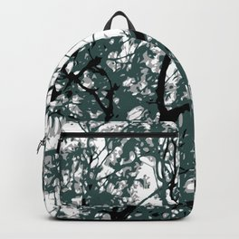 tree branch with green leaves abstract background Backpack