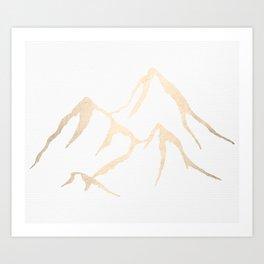Adventure White Gold Mountains Art Print