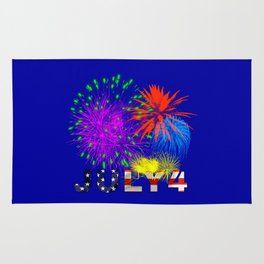 America 4th of July Fireworks Rug