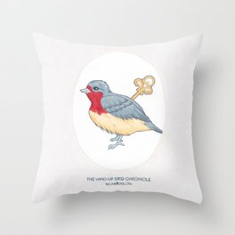 Haruki Murakami's The Wind-Up Bird Chronicle // Illustration of a Bird with a Wind-up Key in Pencil Throw Pillow