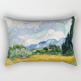 Vincent Van Gogh Wheat Field With Cypresses Rectangular Pillow