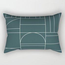 Deco Geometric 04 Teal Rectangular Pillow