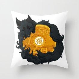Lucky fox coin Throw Pillow