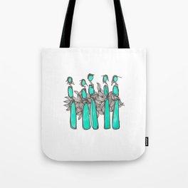 Teal People Tote Bag