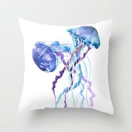 Jellyfish Blue Seaworld artwork Aquatic Design Throw Pillow