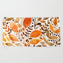 Autumn watercolor leaves Beach Towel