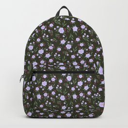 Lilac Flowers on Green - Floral Pattern Backpack