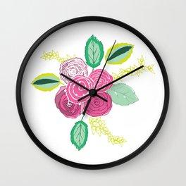 Belles Fleurs - pink roses Wall Clock