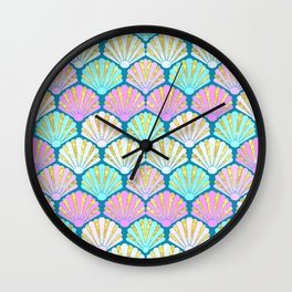 seashells in pink and teal, perfect for a mermaid Wall Clock