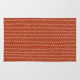 simle line pattern white on red Rug