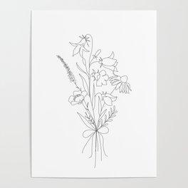 Small Wildflowers Minimalist Line Art Poster